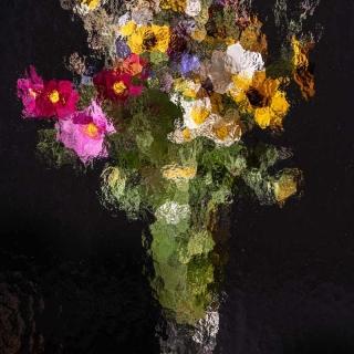 Glas12 Blumen Abstrakt Vase